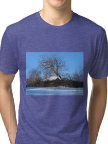 A Barn & Tree Romanian Winter scene Tri-blend T-Shirt