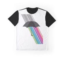 Colorful Rain and Umbrella Minimal Design Graphic T-Shirt