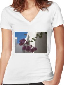 Contemplating Mediterranean Vacations - Whitewashed Walls and Bougainvilleas Women's Fitted V-Neck T-Shirt
