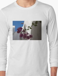 Contemplating Mediterranean Vacations - Whitewashed Walls and Bougainvilleas Long Sleeve T-Shirt