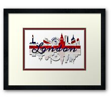 London Skyline British Flag Art Framed Print
