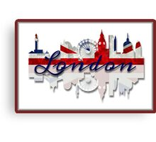 London Skyline British Flag Art Canvas Print