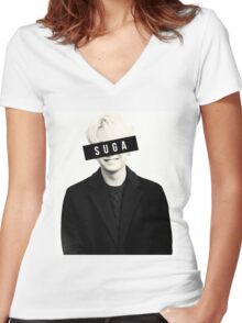 BTS: SUGA Women's Fitted V-Neck T-Shirt