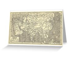 Vintage Map Of Asia (Early 20th Century) Greeting Card