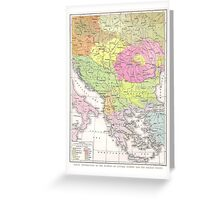 Vintage WW1 Map - Displacements Of People After War Greeting Card