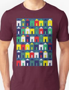 Beach Huts - Blue, Red, White and Yellow Unisex T-Shirt