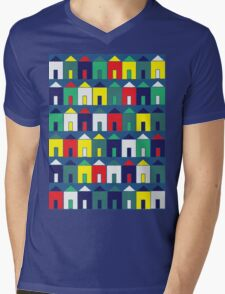 Beach Huts - Blue, Red, White and Yellow Mens V-Neck T-Shirt