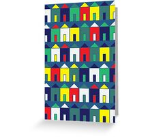 Beach Huts - Blue, Red, White and Yellow Greeting Card