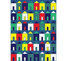 Beach Huts - Blue, Red, White and Yellow Photographic Print