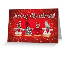 Merry Xmas - Felt & knitting Greeting Card