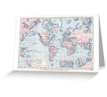 Vintage WW1 Map - Wireless Stations Greeting Card