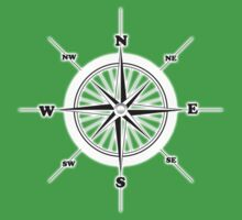 COMPASS, Travel, Navigation, Direction, Orientation, North, South, East, West  One Piece - Short Sleeve