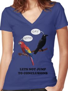 Let's Not Jump to Conclusions Women's Fitted V-Neck T-Shirt