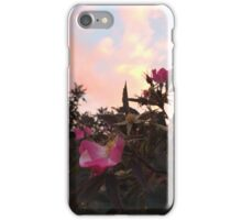 Peach Sunset and Pink Flowers iPhone Case/Skin