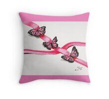 Pink Butterflies on Ribbon Throw Pillow