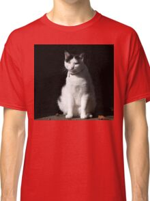 Black and White Cat Sitting Classic T-Shirt