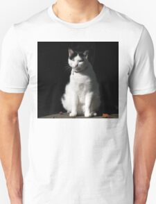 Black and White Cat Sitting Unisex T-Shirt