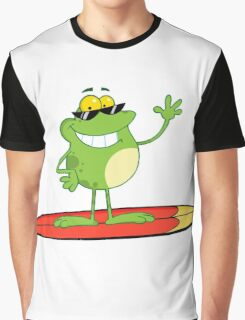 Funny cartoon frog surfer Graphic T-Shirt