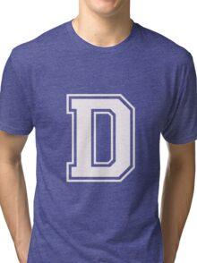 Letter - D (white) Tri-blend T-Shirt