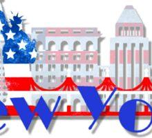 New York Skyline American Flag Art Sticker