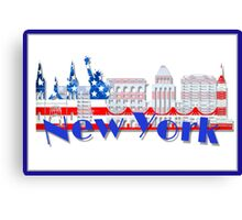 New York Skyline American Flag Art Canvas Print