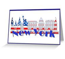 New York Skyline American Flag Art Greeting Card