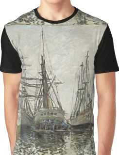 Claude Monet - Boats In A Harbour 1873. Famous Paintings. Impressionism Graphic T-Shirt
