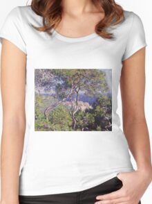 Claude Monet - Bordighera 1884  Impressionism . Famous paintings Women's Fitted Scoop T-Shirt