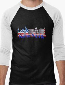 New York Skyline American Flag Art Men's Baseball ¾ T-Shirt
