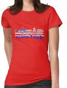 New York Skyline American Flag Art Womens Fitted T-Shirt