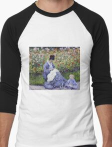 Claude Monet - Camille Monet And A Child In The Artist S Garden In Argenteuil 1875 Impressionism Men's Baseball ¾ T-Shirt