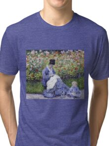 Claude Monet - Camille Monet And A Child In The Artist S Garden In Argenteuil 1875 Impressionism Tri-blend T-Shirt