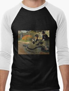 Claude Monet - Camille Monet On A Garden Bench. Impressionism,Vintage Gift Men's Baseball ¾ T-Shirt