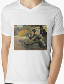 Claude Monet - Camille Monet On A Garden Bench. Impressionism,Vintage Gift Mens V-Neck T-Shirt
