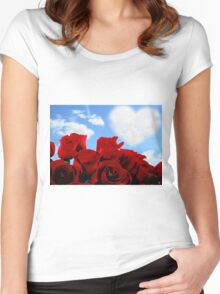RED ROSE HEART Women's Fitted Scoop T-Shirt