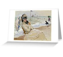 Claude Monet - Camille On The Beach In Trouville. Impressionism.Unique Gift Greeting Card