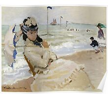 Claude Monet - Camille On The Beach In Trouville. Impressionism.Unique Gift Poster