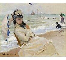 Claude Monet - Camille On The Beach In Trouville. Impressionism.Unique Gift Photographic Print