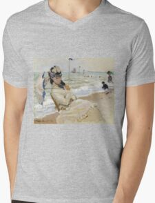 Claude Monet - Camille On The Beach In Trouville. Impressionism.Unique Gift Mens V-Neck T-Shirt