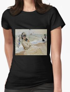 Claude Monet - Camille On The Beach In Trouville. Impressionism.Unique Gift Womens Fitted T-Shirt