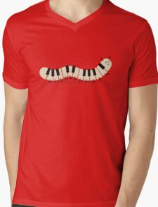 Caterpiano Mens V-Neck T-Shirt