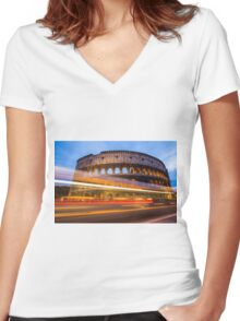 The Colosseum at dusk Women's Fitted V-Neck T-Shirt