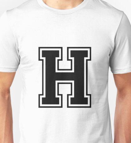 Letter - H  (black) Unisex T-Shirt