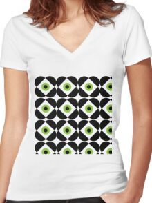 Retro Flower - Lime Green Women's Fitted V-Neck T-Shirt