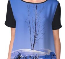 Lonely tree in winter Chiffon Top