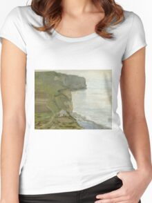 Claude Monet - Cape Antifer, Etretat .Impressionism.Motivational Poster Women's Fitted Scoop T-Shirt