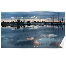 Reflecting on Boats and Clouds - Blue Marina  Poster