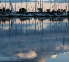 Reflecting on Boats and Clouds - Blue Marina  Sticker