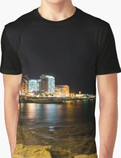 Black Night, Bright Lights - Sliema's Famous Waterfront Graphic T-Shirt