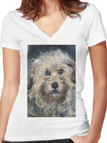 Claude Monet - Dog , Fine Artб Impressionism Women's Fitted V-Neck T-Shirt